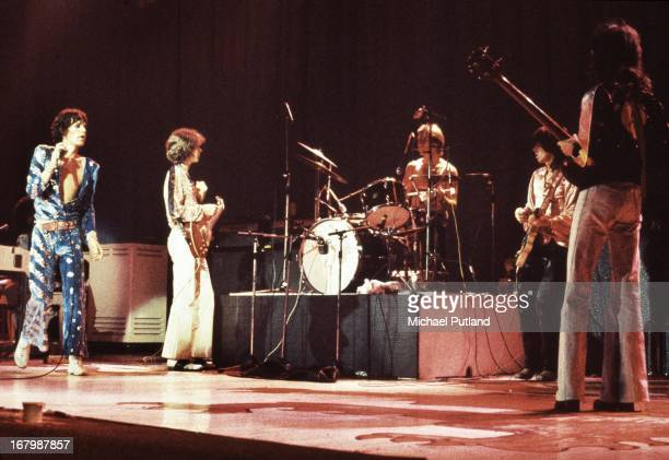 The Rolling Stones performing on their European tour, 1973. Left to right: Mick Jagger, Mick Taylor, Charlie Watts, Keith Richards and Bill Wyman.