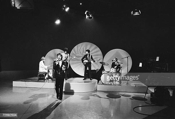 The Rolling Stones performing 'She Smiled Sweetly' on the Eamonn Andrews show 5th February 1967 From left to right Brian Jones Mick Jagger Keith...