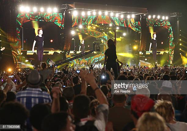 The Rolling Stones performs on stage at a free concert March 26 2016 in Havana Cuba Thousands of fans listened to the Rolling Stones play for the...