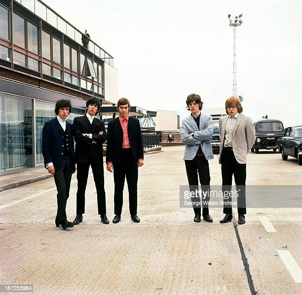 The Rolling Stones photographed at an airport The band formed in London in 1962 were in the vanguard of the British rock 60's and 70's revolution...