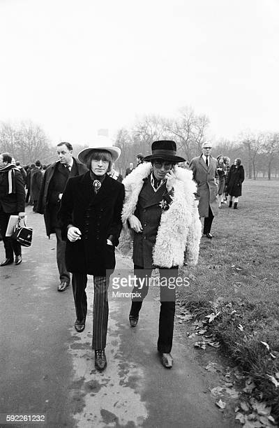 The Rolling Stones pictured in Green Park London for a press conference prior to their departure for America where they are to appear on the Ed...