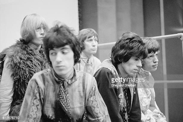 The Rolling Stones pose during recording sessions for Their Satanic Majesties Request Pictured are Brian Jones Bill Wyman Charlie Watts Keith...