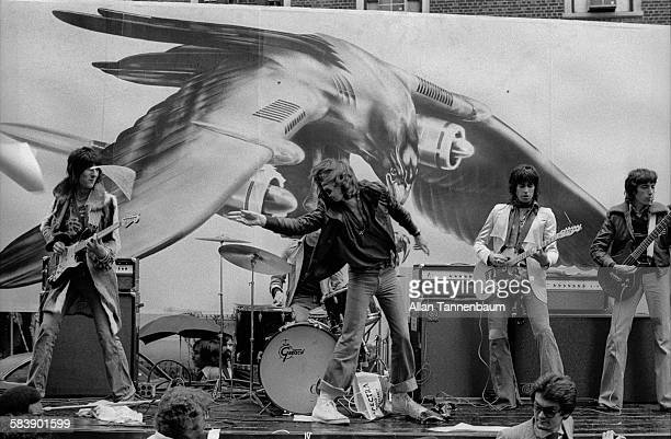 The Rolling Stones promote their 'Tour of The Americas' by playing 'Brown Sugar' on a flatbed truck in Greenwich Village New York New York May 1 1975