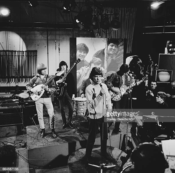 The Rolling Stones rehearsing for an appearance on the TV show 'Ready Steady Go' at Television House London 26th February 1965 Left to right Brian...