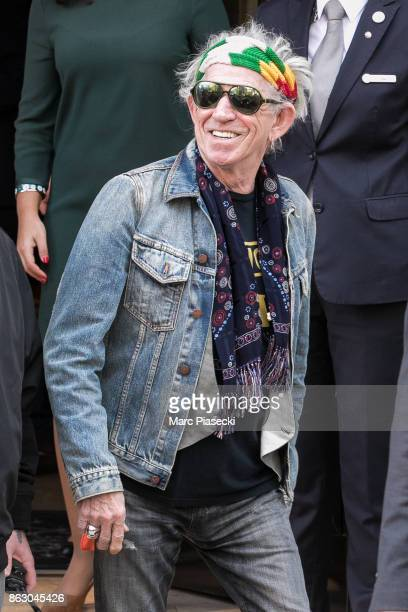 'The Rolling Stones' rocker Keith Richards is seen leaving the 'Four Seasons George V' hotel ahead the first Rolling Stones concert at U Arena on...