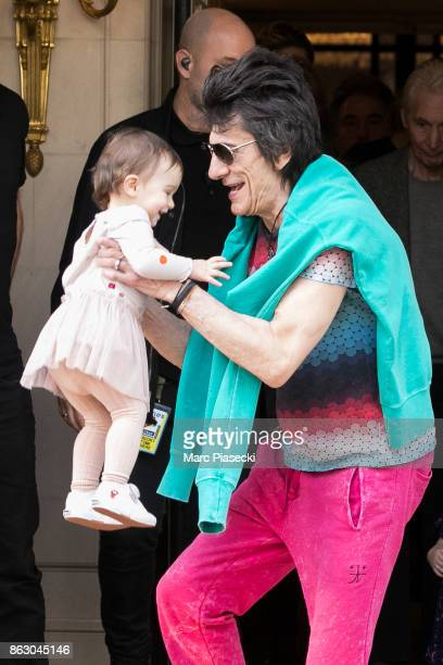 The Rolling Stones' rocker Ronnie Wood and his daughter Gracie Jane Wood are seen leaving the 'Four Seasons George V' hotel ahead the first Rolling...