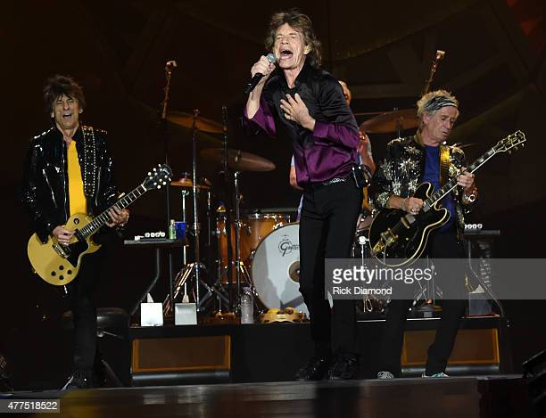 The Rolling Stones Ronnie Wood Mick Jagger and Keith Richards perform during The Rolling Stones North American ZIP CODE Tour Nashville at LP Field on...