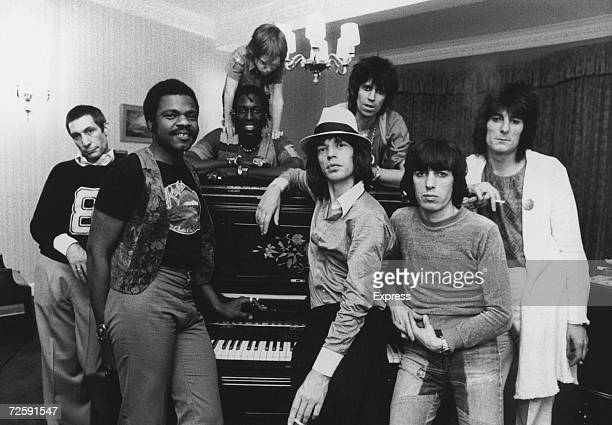 The Rolling Stones together in their hotel at 2 am after a British concert 19th May 1976 Accompanying the group on tour is Keith Richards' six...