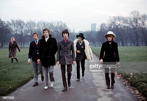 England 19th May 1967 British pop group The Rolling Stones are pictured in London's Green Park LR Charlie Watts Mick Jagger Bill Wyman Keith Richards...
