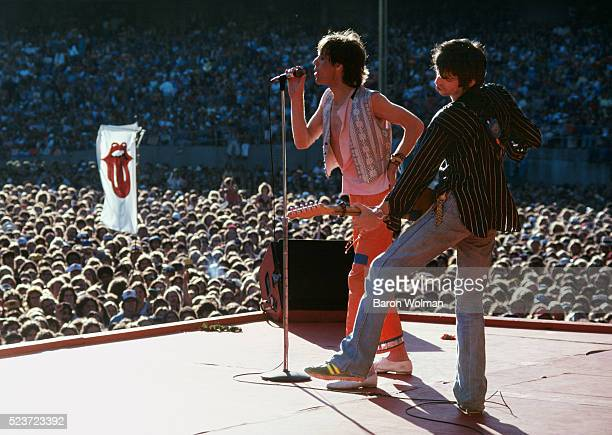The Rollings Stones' Keith Richards and Mick Jagger perform at the Day on the Green Oakland Coliseum July 1978