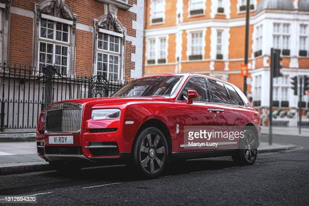 The Rolls Royce Cullinan in Mayfair, London. The Cullinan is Rolls Royces first attempt at an SUV, and is also the brands first all wheel drive...