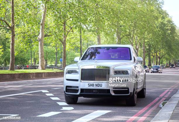 The Rolls Royce Cullinan on Park Lane in Mayfair, London. The Cullinan is the first SUV to be launched by the Rolls-Royce marque, and is also the...