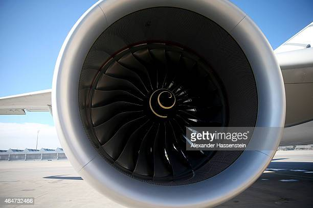 The Rolls Royce engine of a new Airbus A350X WB passenger plane on the tarmac at Munich Airport during a presentation of the new plane by Airbus...