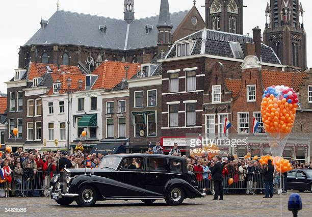 The Rolls Royce with Dutch Queen Beatrix's second son Prince Johan Friso and Mabel Wisse Smit arrives at the at the City Hall on April 24 2004 in...