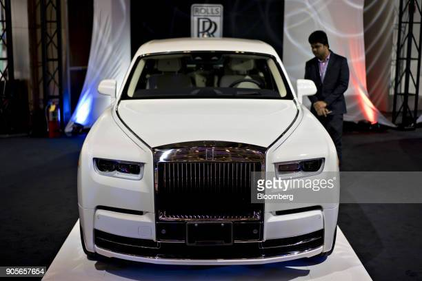 The RollsRoyce Motor Cars Ltd 2018 Phantom vehicle is displayed during the 2018 North American International Auto Show in Detroit Michigan US on...