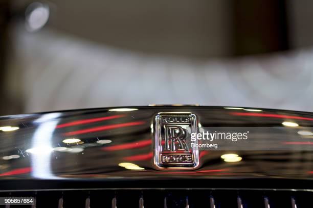 The RollsRoyce Motor Cars Ltd logo is seen on the front of a 2018 Phantom vehicle during the 2018 North American International Auto Show in Detroit...