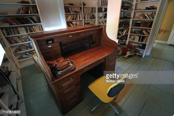 The rolltop desk and office chair belonging to late US poet laureate Donald Hall are pictured at his home in Wilmot NH on May 23 2019 From 1975 until...