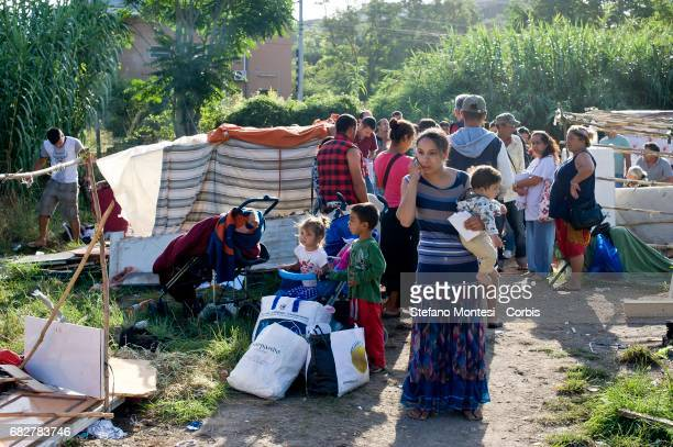 The Roma camp behind Val D'Ala railway station Monte Sacro district inhabited by 39 roma romeni including 11 children and infants a settlement of...
