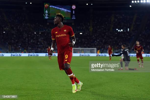 The Roma footballer Tammy Abraham score his goal during the Roma-CSKA Sofia Conference League match at the stadio Olimpico. Rome , September 16th,...
