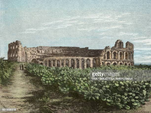 The Roman amphitheatre at El Djem seen from the side of the ruins Tunisia drawing by Alexandre De Bar from a photograph by Rebatel from Voyage dans...