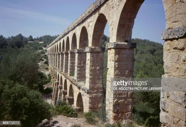 The Roman aqueduct of Les Ferreres or Devil's Bridge Tarraco Archaeological Complex surroundings of Tarragona Catalonia Spain Roman civilization 1st...