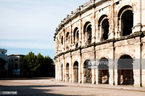 the roman arena is empty during pandemic covid 19 in europe - france - ille et vilaine stock pictures, royalty-free photos & images