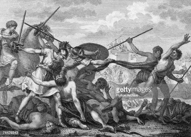 The Roman army under Scipio Africanus defeats Hannibal and the Carthaginian army at the Battle of Zama in Tunisia thus ending the Second Punic War...