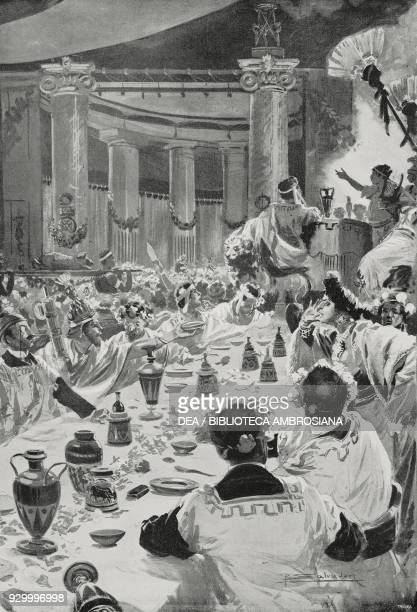 The Roman banquet at the Society of Patriots and Artists Milan Italy drawing by Riccardo Salvadori from L'illustrazione Italiana Year XXIX No 12...