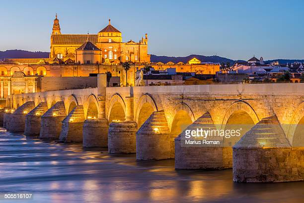 The roman bridge and Mezquita cathedral in Cordoba