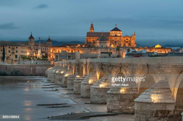 the roman bridge and the mosque–cathedral of cordoba at dusk,andalusia,spain - córdoba - fotografias e filmes do acervo