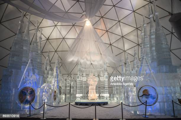 The Roman Catholic Basilica Sagrada Familia made of ice is the new attraction for the opening of the winter season in Stary Smokovec Slovakia on...