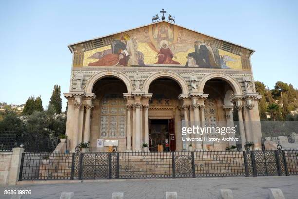 The Roman Catholic Church of All Nations on the Mount of Olives in Jerusalem Israel Located next to the Garden of Gethsemane It enshrines a section...