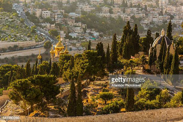 the roman catholic church of dominus flevit and the russian church of mary magdalene from the mount of olives - mount of olives stock photos and pictures