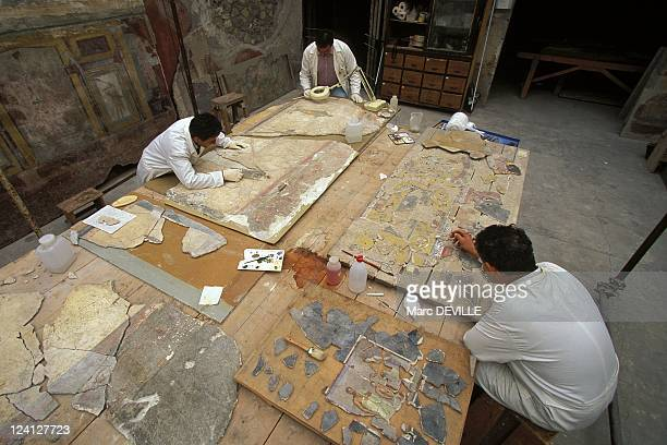 The Roman City of Pompei Italy In October 1997 Frescos restoration at occidental Insula laboratory