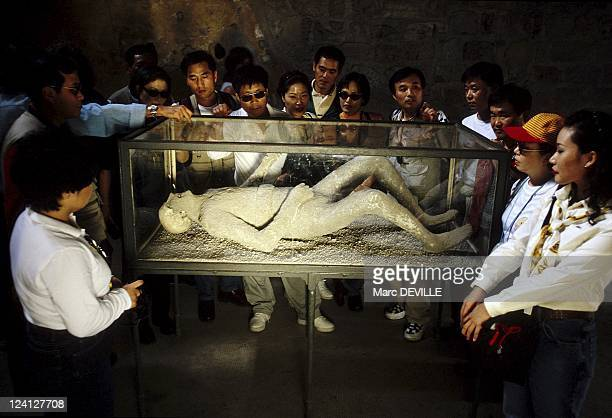 The Roman City of Pompei Italy In October 1997 Petrified Corpse at the Forum Spas