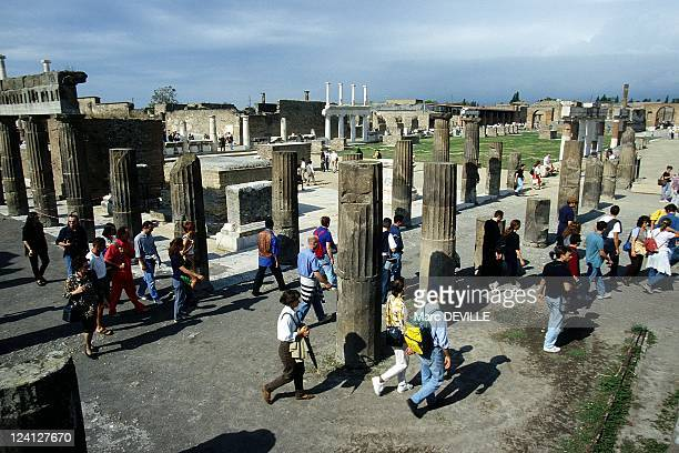The Roman City of Pompei Italy In October 1997 Tourists Visiting the Forum