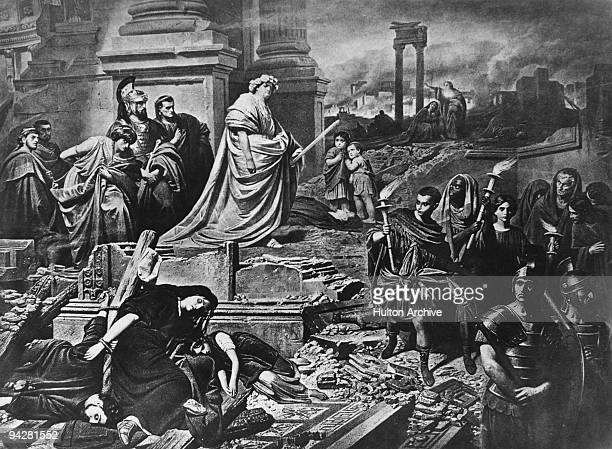 The Roman Emperor Nero surveys the city of Rome after the disastrous fire of AD 64 Rumours abounded that the fire was started by Nero himself to...