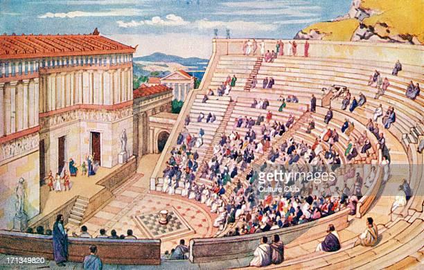 The Roman Empire amphitheatre Toga togas Illustration by J Williamson
