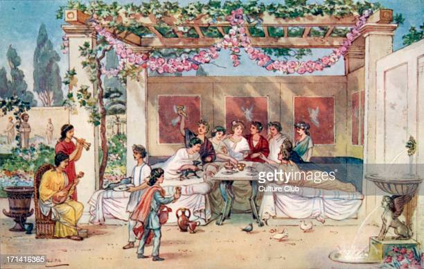 The Roman Empire dinner in the garden Food feast feasts banquet banquets meal fountain fountains leisure toga togas flowers double aulos Illustration...