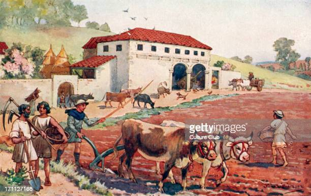 The Roman Empire peasants farming and plowing the fields Farm farmers field fields peasant peasants tools Illustration by J Williamson