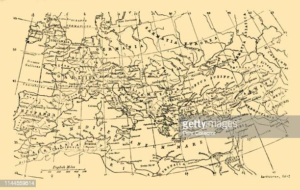 The Roman Empire Under Augustus' circa 1930 Map showing the extent of Roman occupation in Europe North Africa and the Middle East The emperor Caesar...
