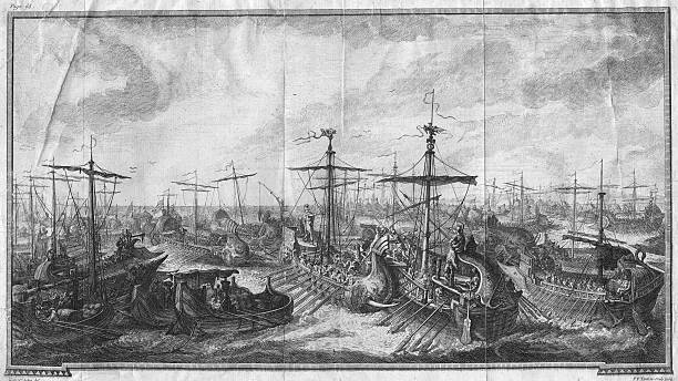 The Roman fleet defeats the Carthaginians at the Battle...