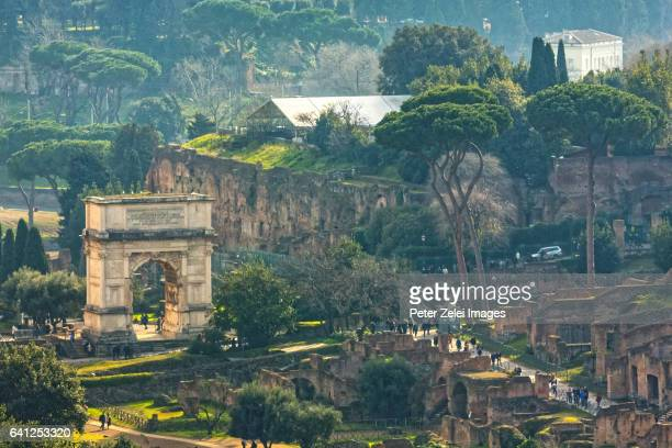 The Roman Forum and Arch of Titus, high angle view, Rome, Italy