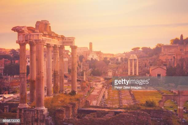 The Roman Forum at dusk, Rome, Italy