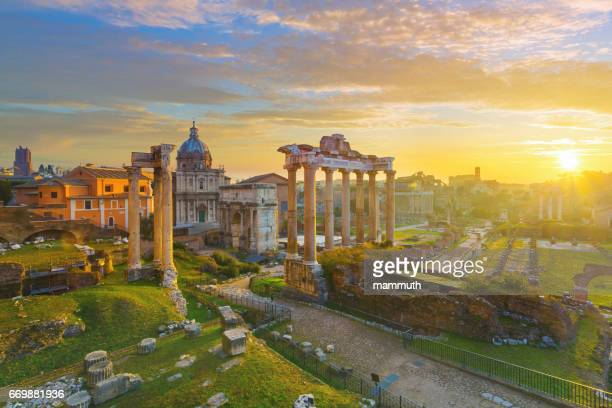 The Roman Forum at sunrise in Rome, Italy