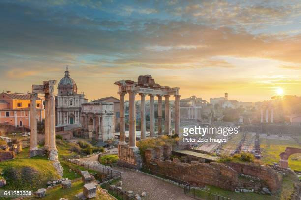 the roman forum at sunrise, rome, italy - roman forum stock pictures, royalty-free photos & images