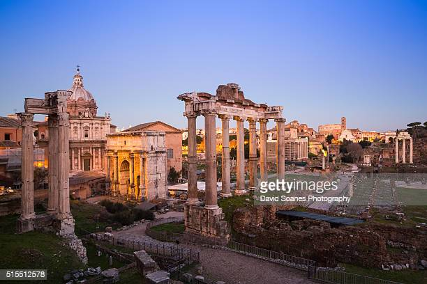 The Roman forum at sunset in the Roman Forum, Rome, Italy