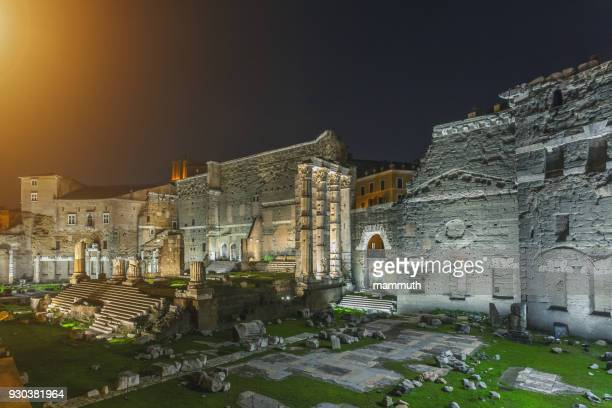 the roman forum in the night (forum of augustus with the ruins of temple of mars) - mars roman god stock photos and pictures