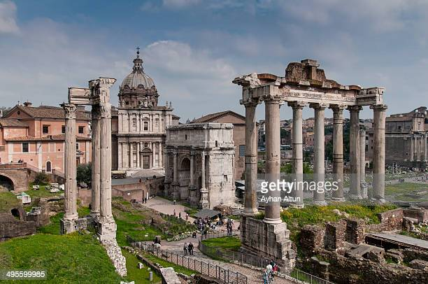CONTENT] The Roman Forum is a rectangular forum surrounded by the ruins of several important ancient government buildings at the center of the city...