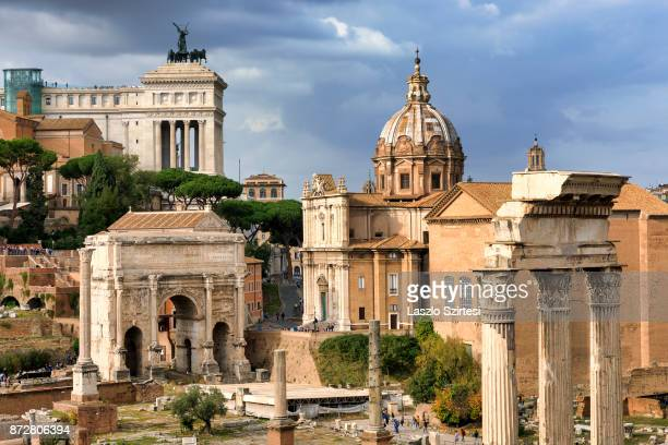The Roman Forum is seen at the Palatine Hill on October 30 2017 in Rome Italy Rome is one of the most popular tourist destinations in the World